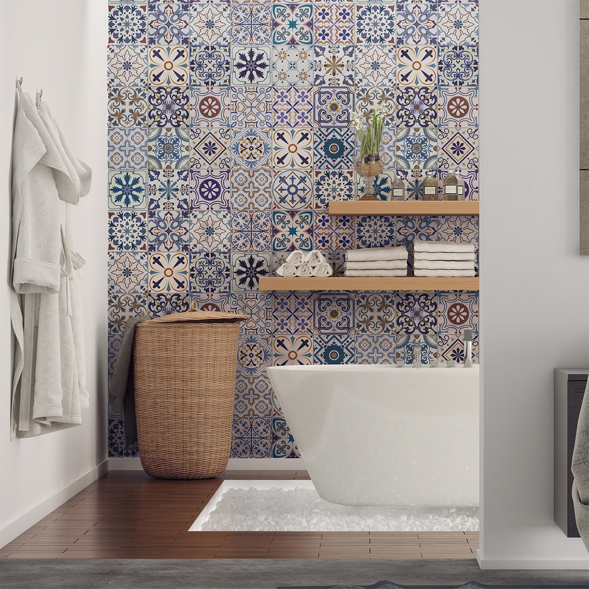 30 stickers carrelages azulejos riviera salle de bain et - Stickers sur carrelage salle de bain ...