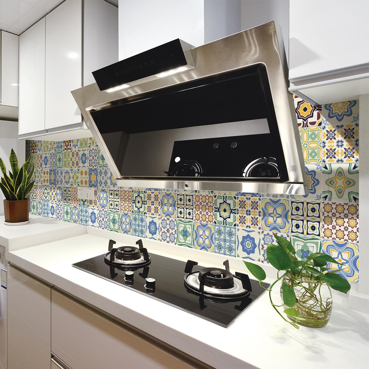 30 stickers carrelages azulejos salvia cuisine - Stickers cuisine carrelage ...
