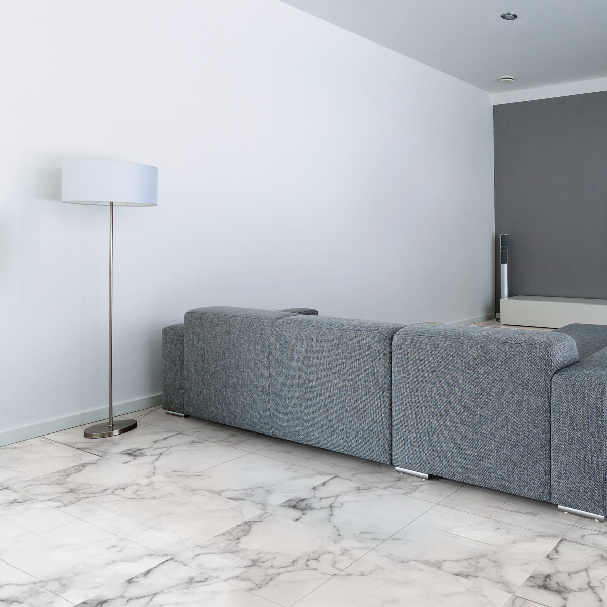 4 stickers sol carreaux de ciment marbre blanc anti-dérapant – SALLE ...