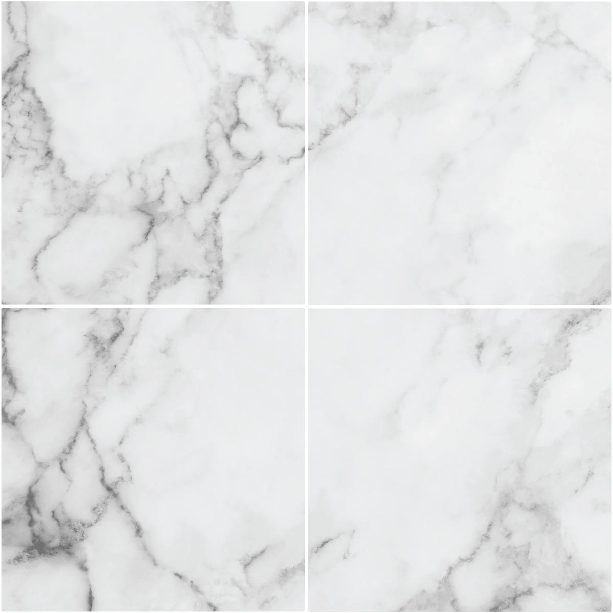 4 stickers sol carreaux de ciment marbre blanc anti-dérapant