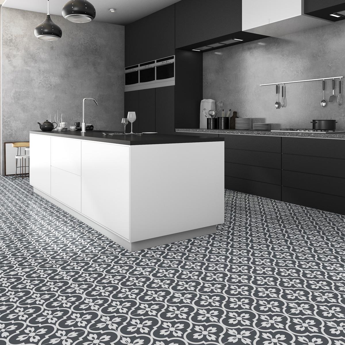 4 stickers sol carreaux de ciment modesto anti d rapant. Black Bedroom Furniture Sets. Home Design Ideas