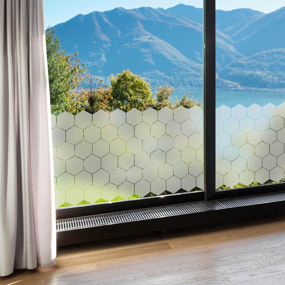 50 stickers occultants hexagones pour vitre et porte de douche