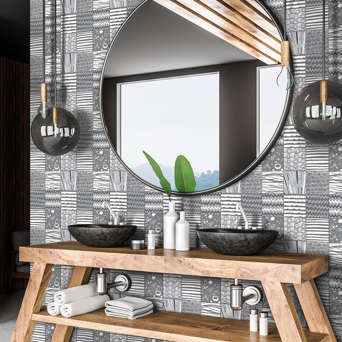 60 stickers carreaux de ciment azulejos calixto cuisine. Black Bedroom Furniture Sets. Home Design Ideas