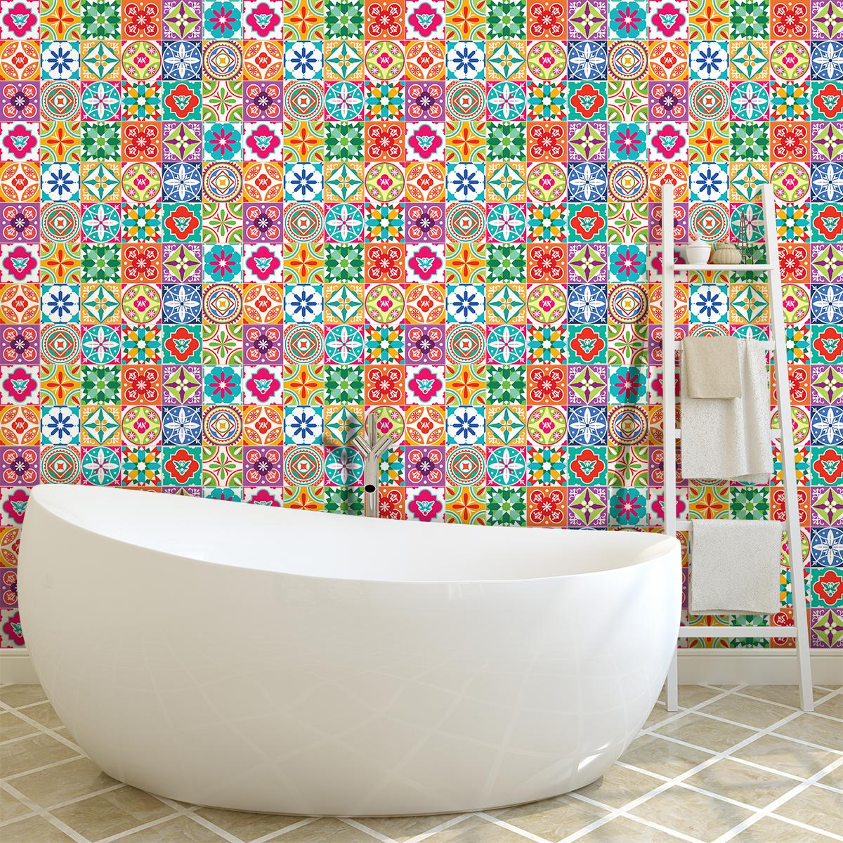 60 stickers carreaux de ciment azulejos claria cuisine. Black Bedroom Furniture Sets. Home Design Ideas