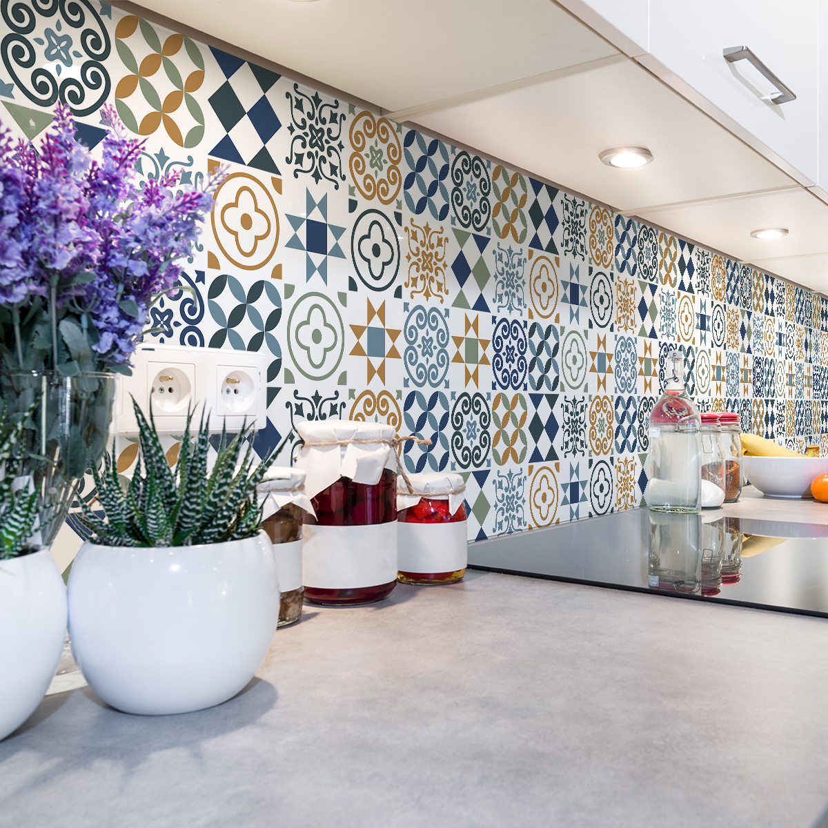 60 stickers carreaux de ciment azulejos hana cuisine carrelages ambiance sticker. Black Bedroom Furniture Sets. Home Design Ideas