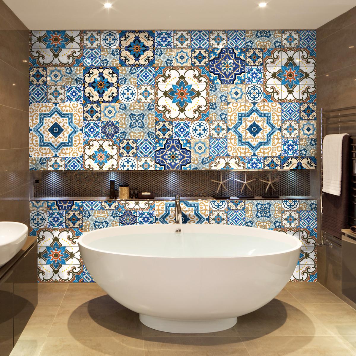 60 stickers carreaux de ciment toundra salle de bain et - Stickers pour carreaux salle de bain ...