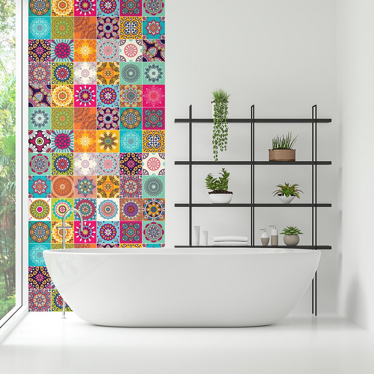 60 stickers carrelages azulejos roses multicolore salle - Stickers sur carrelage salle de bain ...