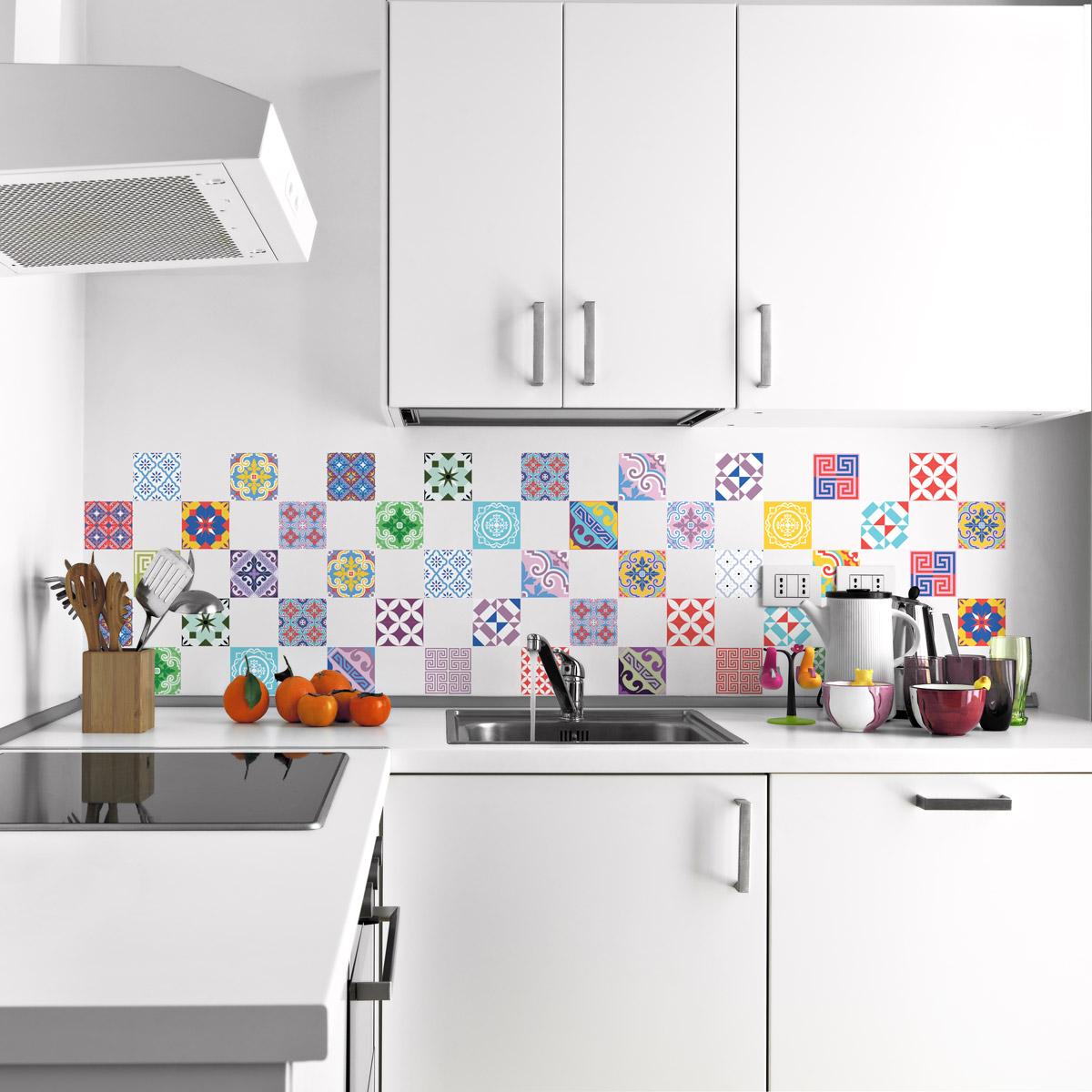 60 stickers carrelages azulejos vintage artistiques. Black Bedroom Furniture Sets. Home Design Ideas