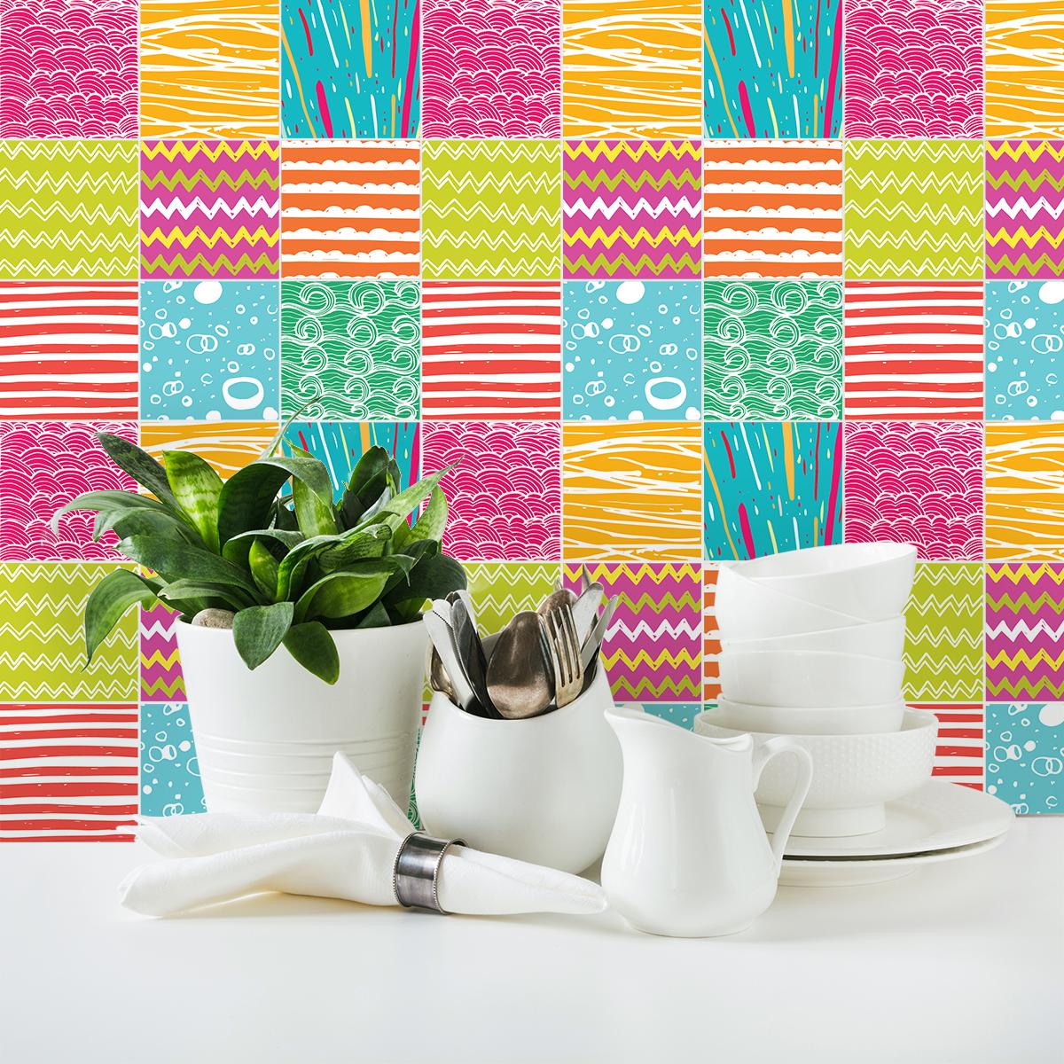 9 stickers carreaux de ciment azulejos begona cuisine. Black Bedroom Furniture Sets. Home Design Ideas