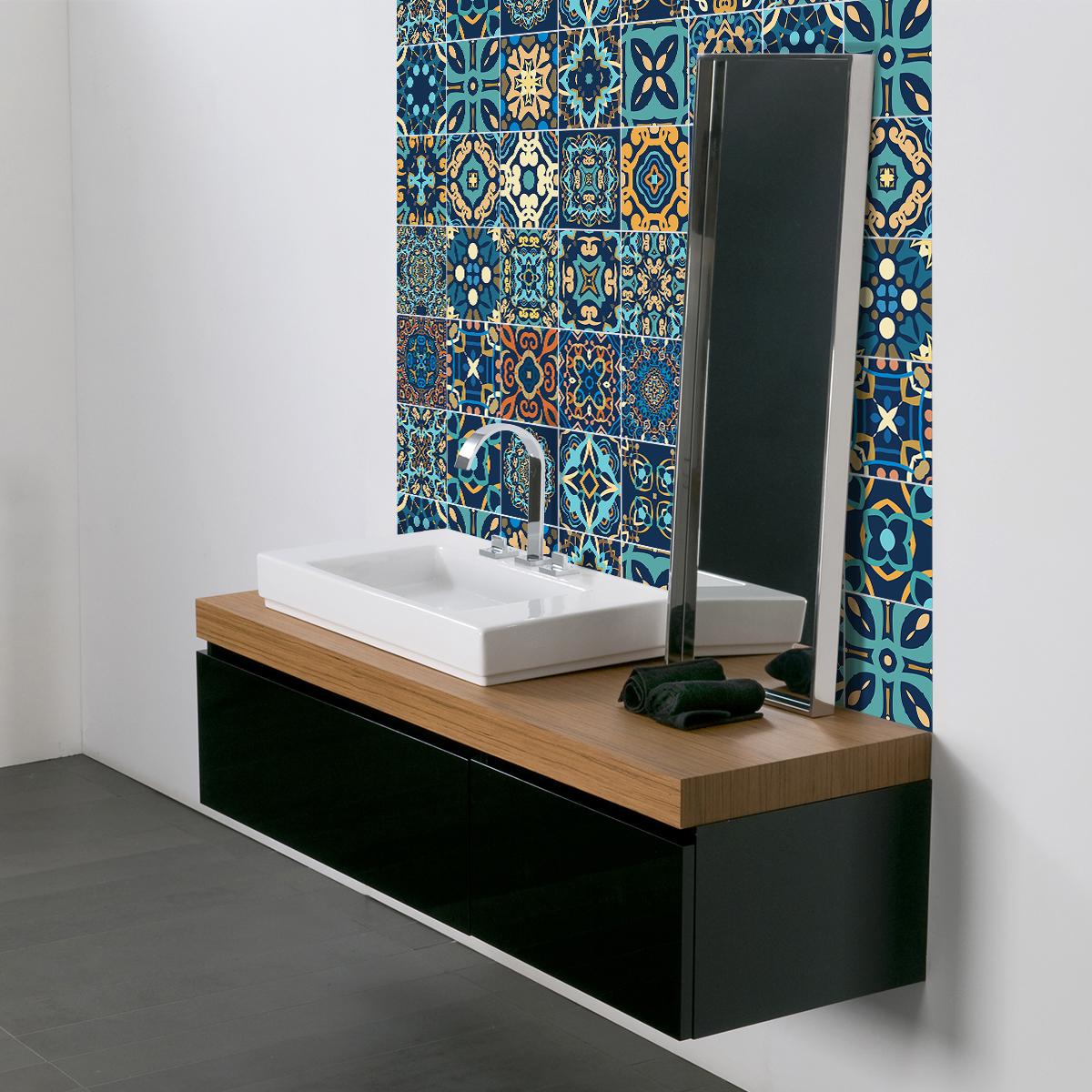 9 stickers carreaux de ciment azulejos dizier cuisine. Black Bedroom Furniture Sets. Home Design Ideas