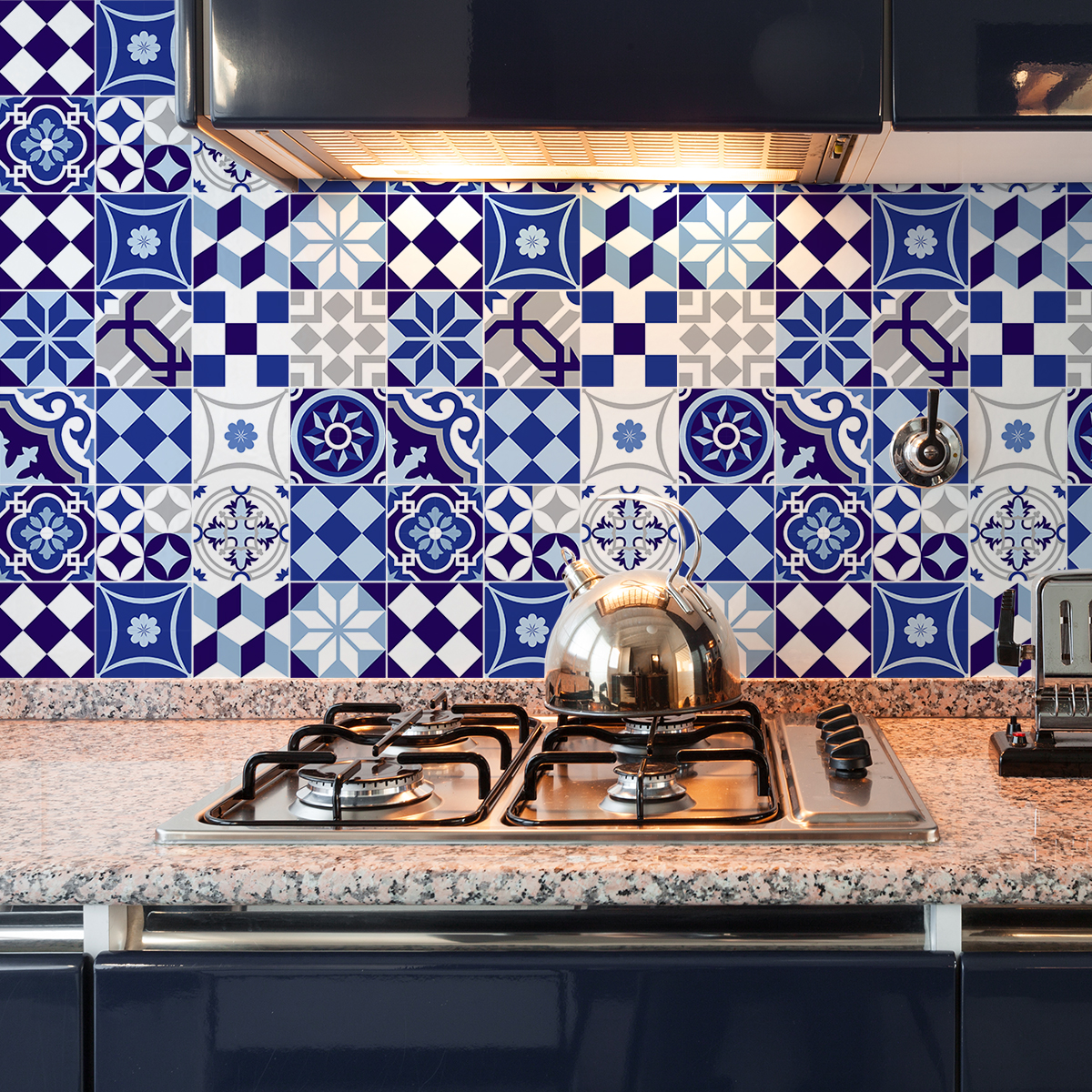 9 stickers carreaux de ciment azulejos gabiana cuisine. Black Bedroom Furniture Sets. Home Design Ideas