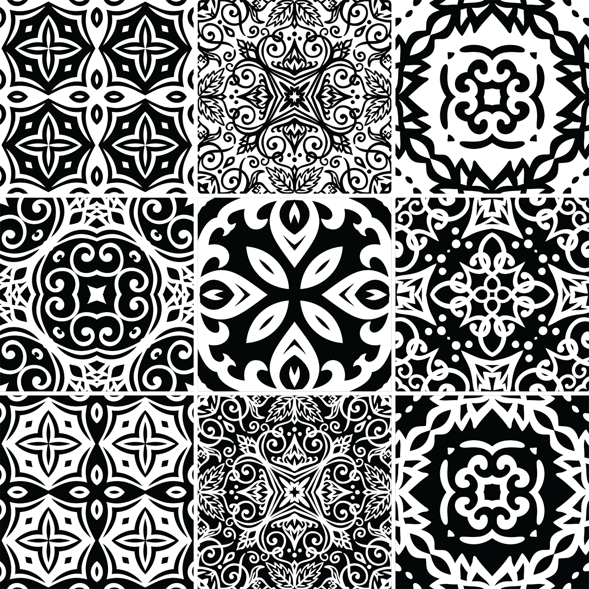 9 stickers carreaux de ciment azulejos ines cuisine carrelages ambiance sticker. Black Bedroom Furniture Sets. Home Design Ideas