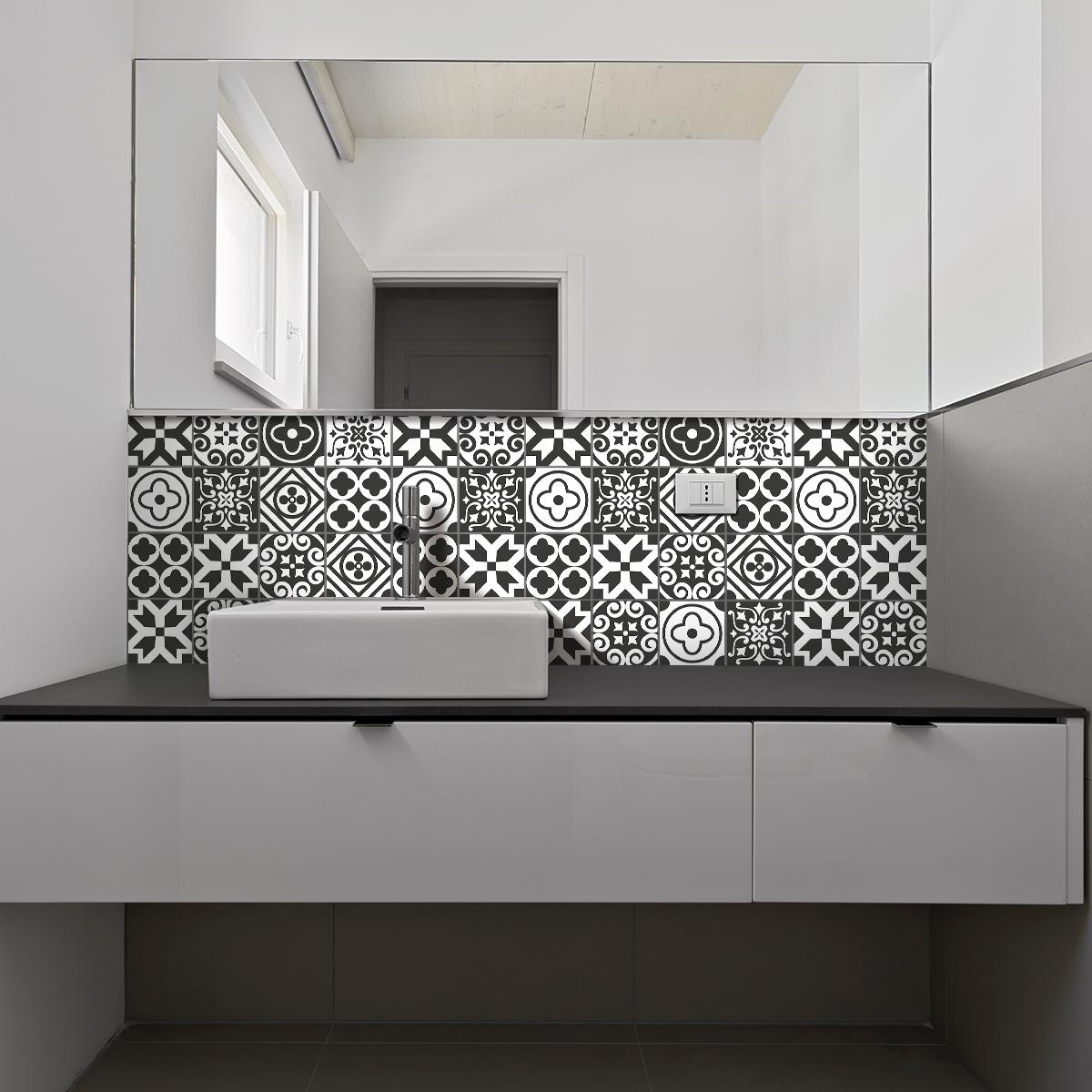 9 stickers carreaux de ciment azulejos lenzo cuisine carrelages ambiance sticker. Black Bedroom Furniture Sets. Home Design Ideas