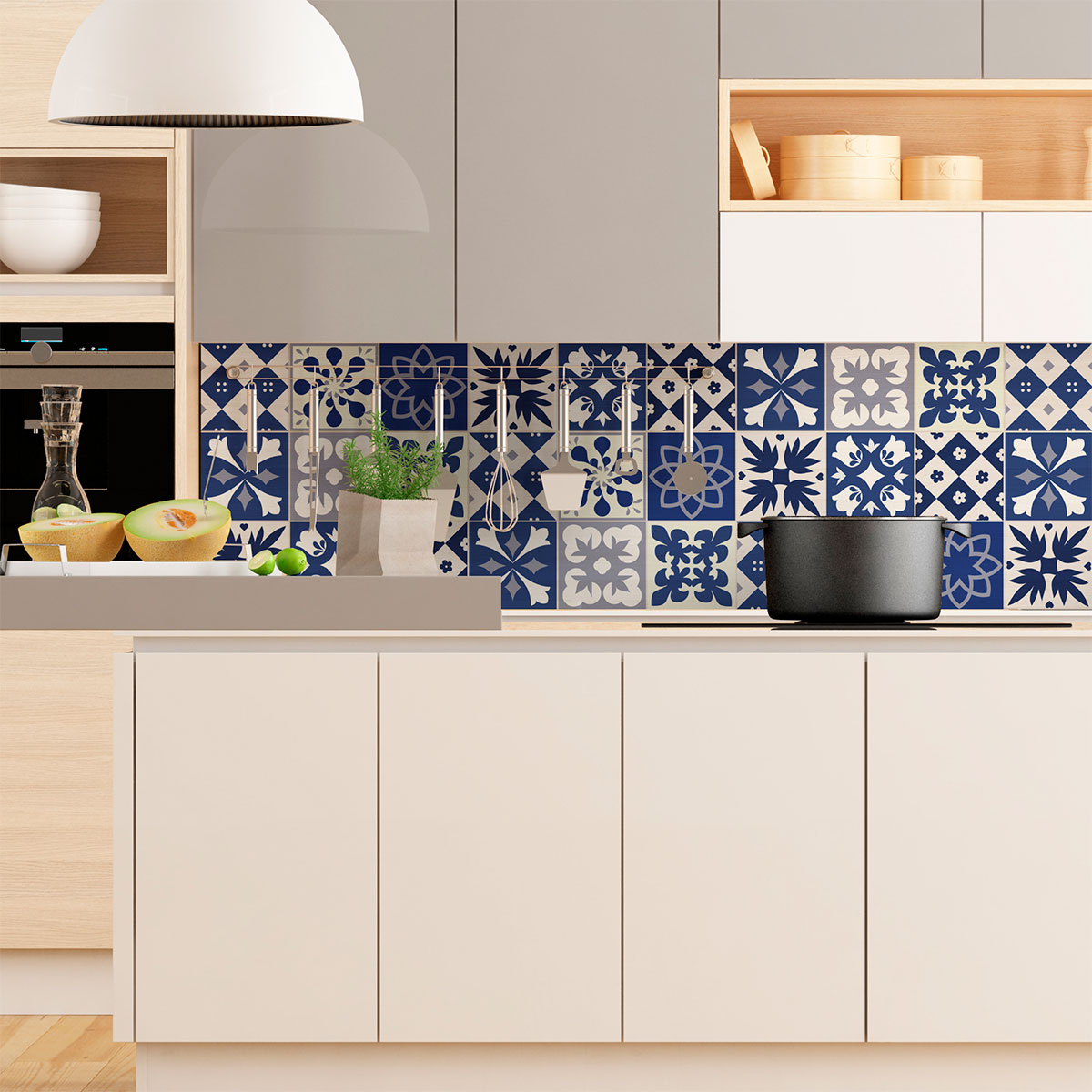 9 stickers carreaux de ciment azulejos linia cuisine carrelages ambiance sticker. Black Bedroom Furniture Sets. Home Design Ideas