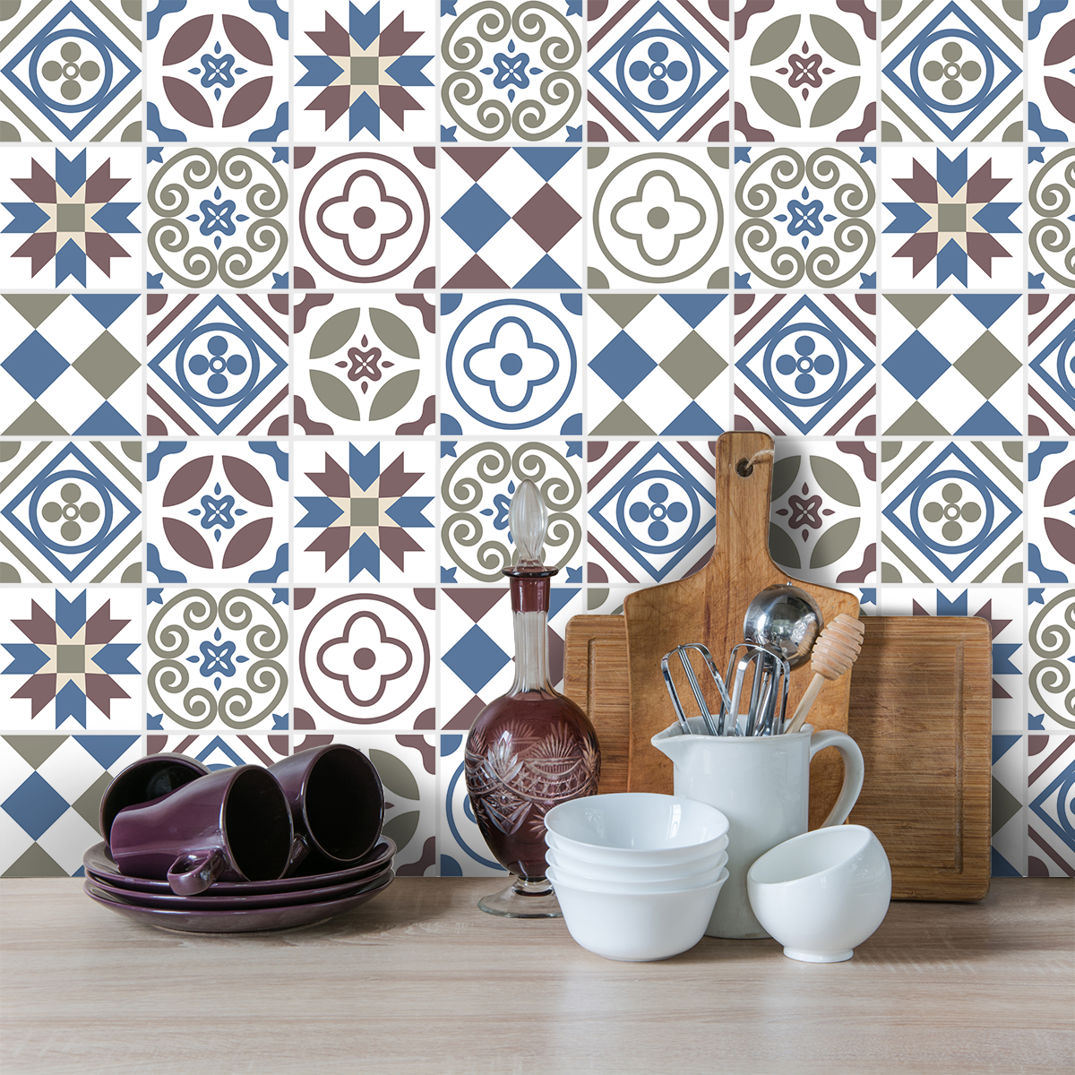 9 stickers carreaux de ciment azulejos liticina cuisine carrelages ambiance sticker. Black Bedroom Furniture Sets. Home Design Ideas
