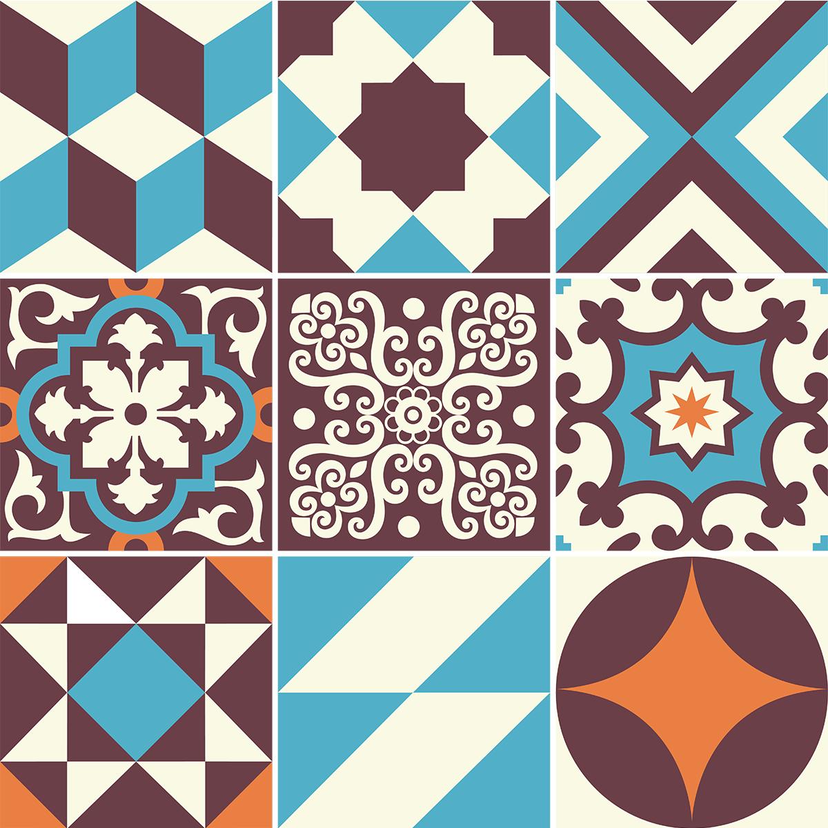 9 Stickers Carreaux De Ciment Azulejos Lopigna