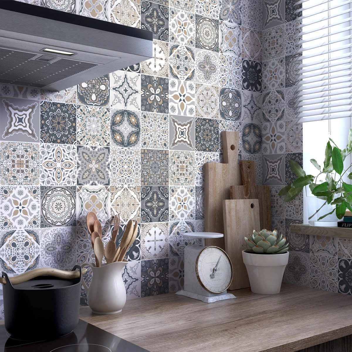 Stickers Carrelage Cuisine: 9 Stickers Carreaux De Ciment Azulejos Orfeo