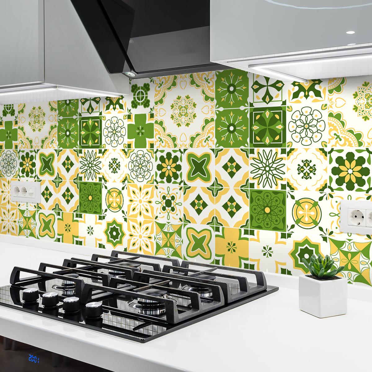 9 stickers carreaux de ciment azulejos prisca cuisine. Black Bedroom Furniture Sets. Home Design Ideas