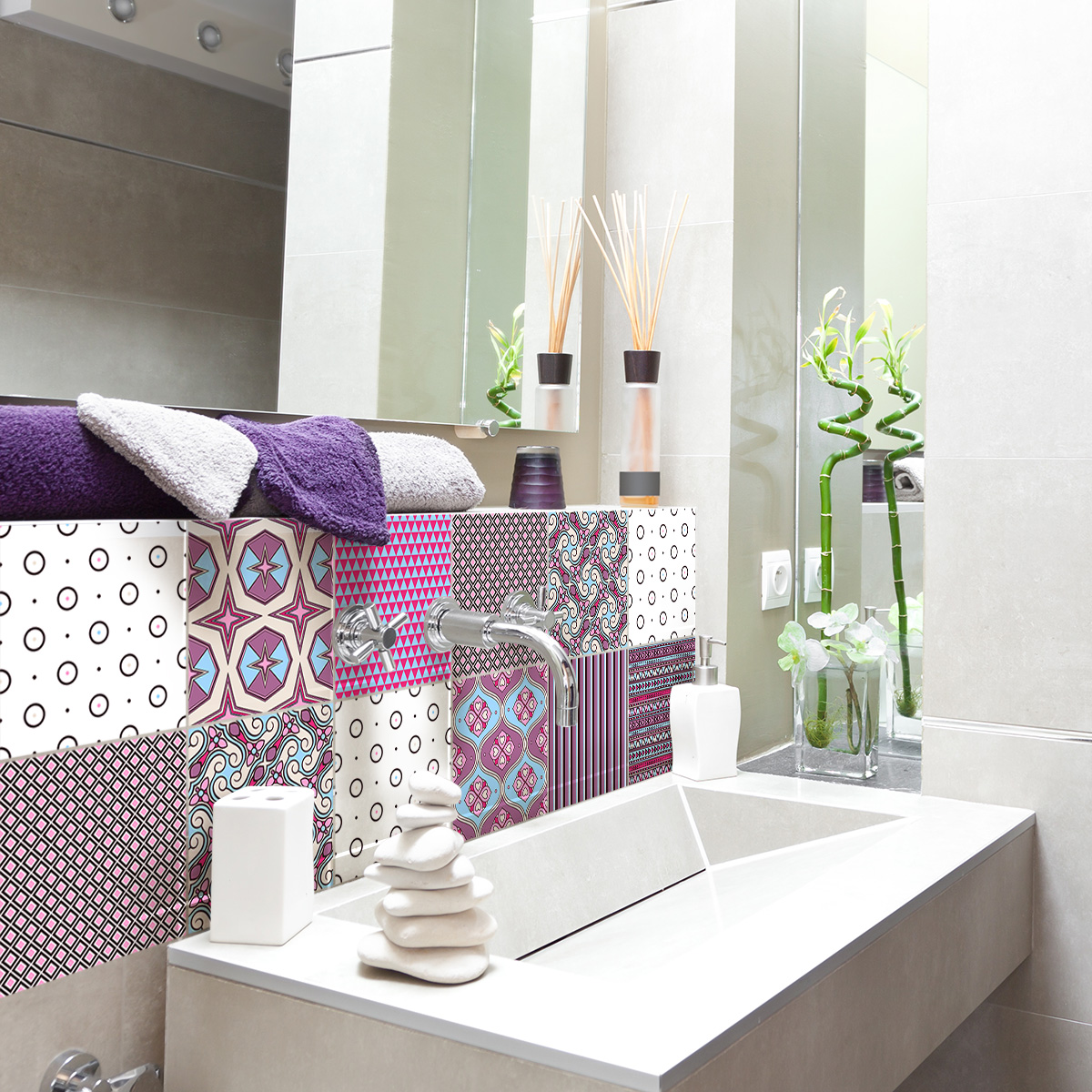 9 stickers carreaux de ciment ethnique hamamatsu. Black Bedroom Furniture Sets. Home Design Ideas