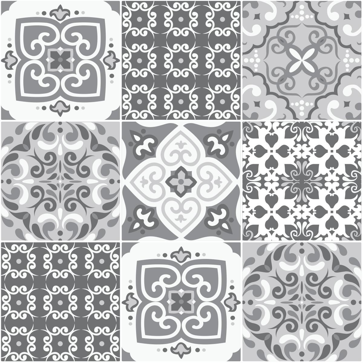 9 stickers carreaux de ciment nuances de gris marrakech. Black Bedroom Furniture Sets. Home Design Ideas