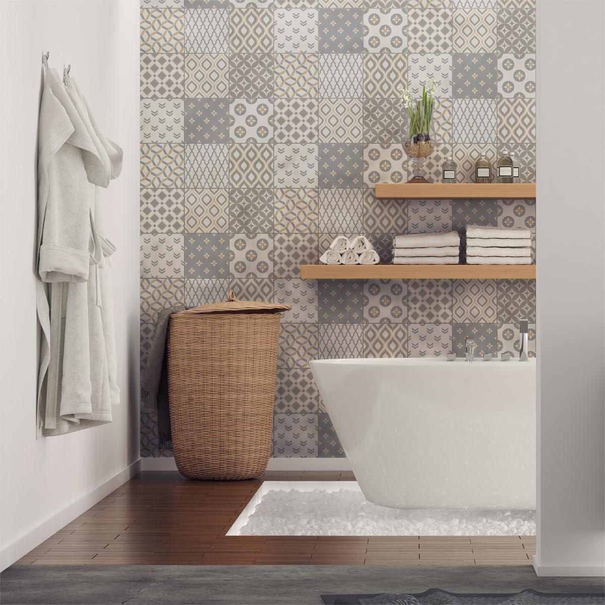 9 stickers carreaux de ciment scandinave samtida salle. Black Bedroom Furniture Sets. Home Design Ideas