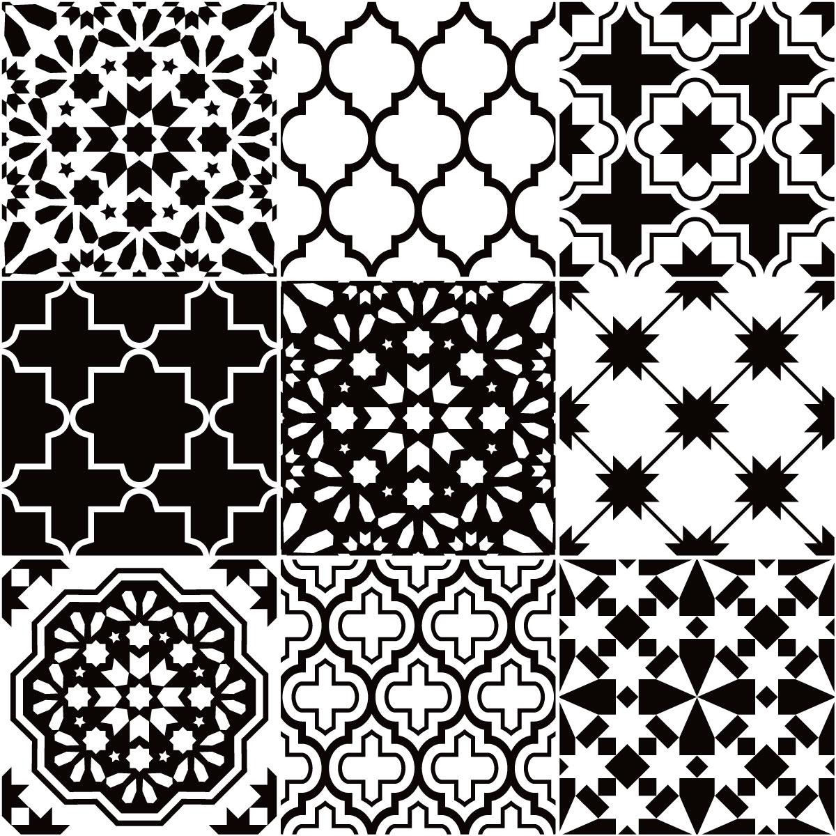 9 stickers carrelages azulejos classique nuance noir et. Black Bedroom Furniture Sets. Home Design Ideas