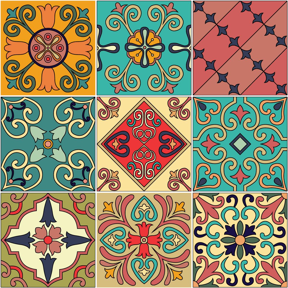 9 stickers carrelages azulejos mosaïques orientales