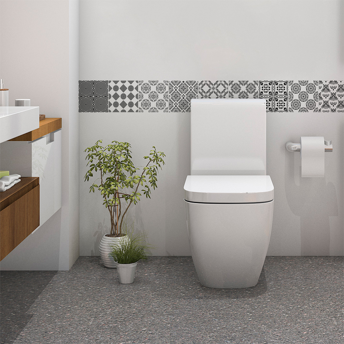 9 stickers carrelages scandinave kaltina salle de bain - Stickers sur carrelage salle de bain ...