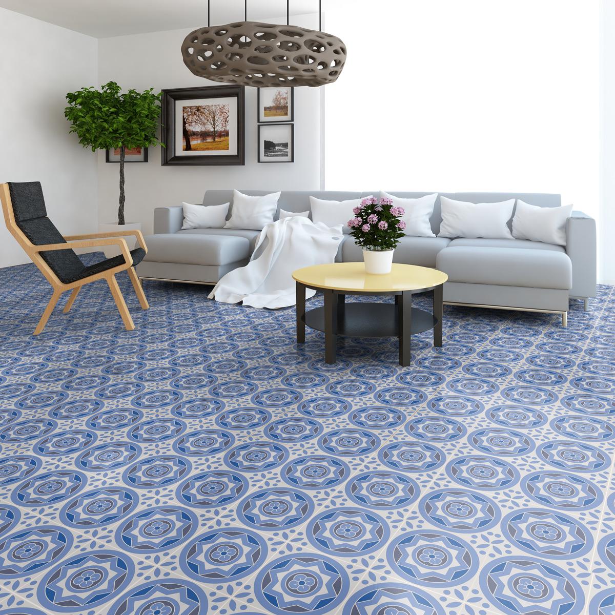 9 stickers sol carreaux de ciment ornella anti d rapant. Black Bedroom Furniture Sets. Home Design Ideas