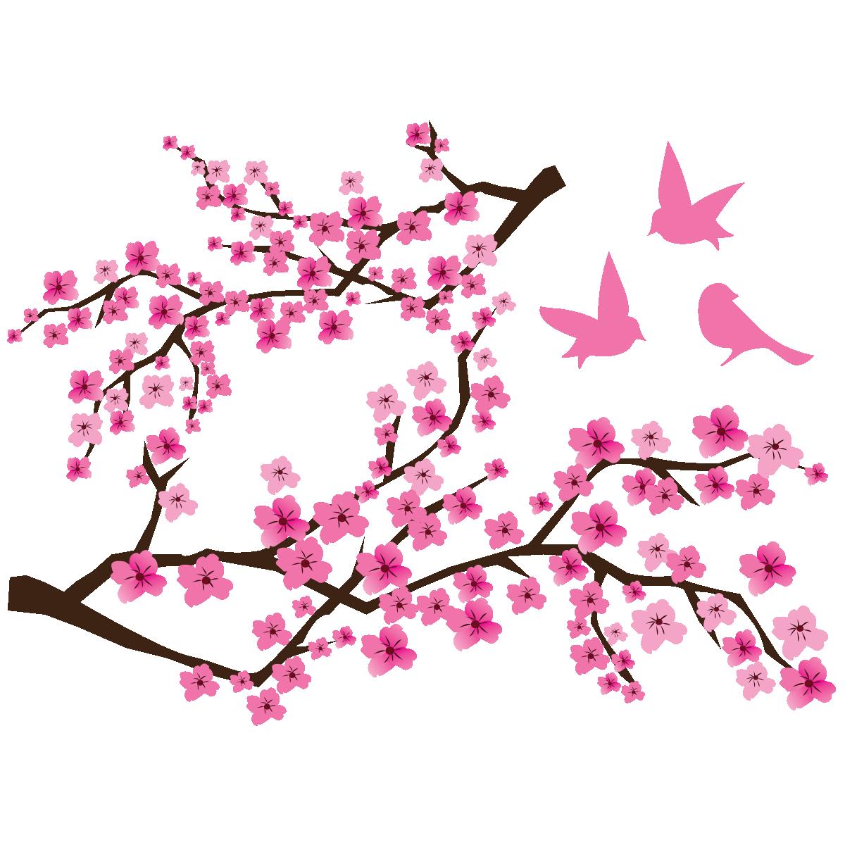 Sticker 2 Branches De Cerisier Japonais Et 3 Oiseaux Stickers Stickers Nature Arbres Ambiance Sticker