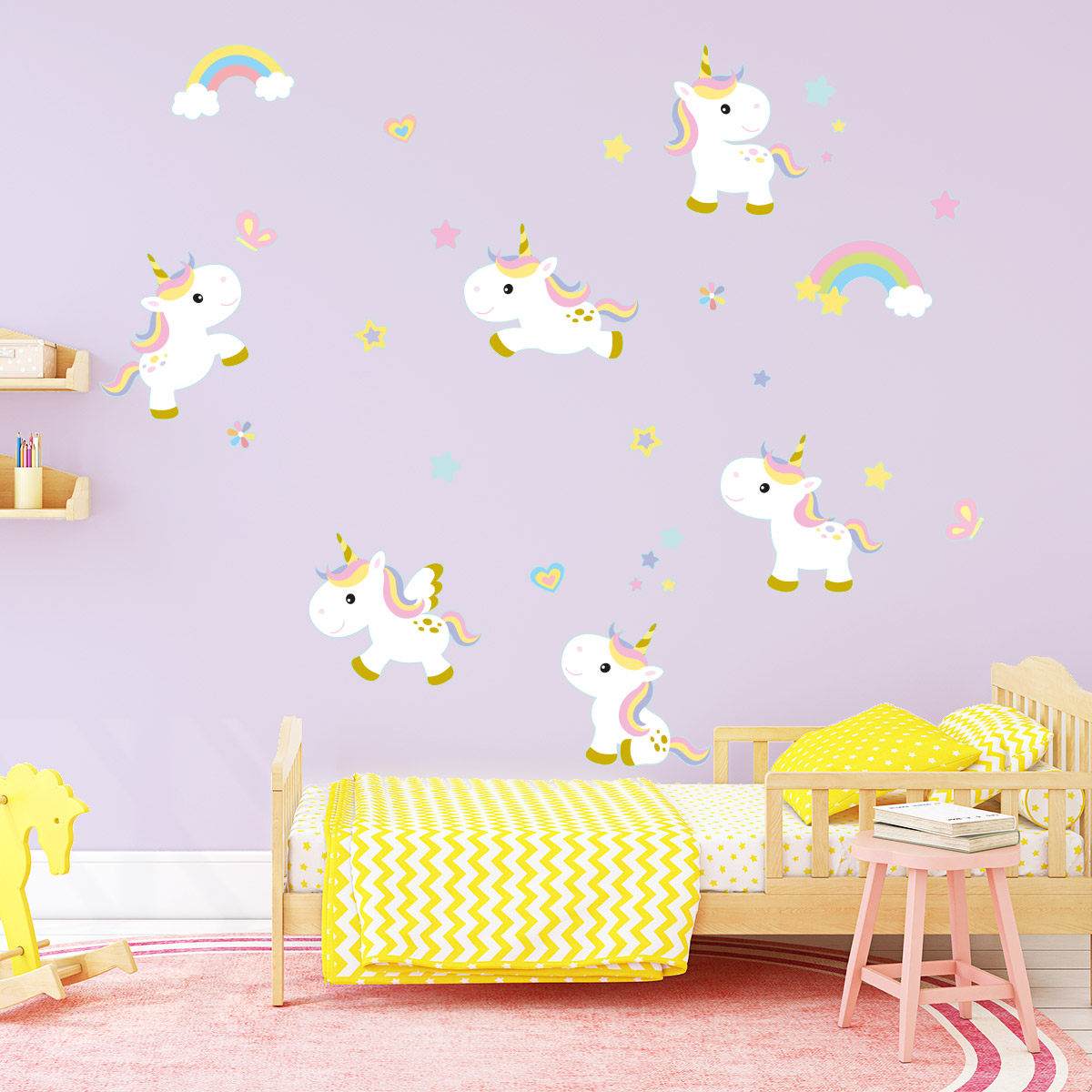 Stickers Muraux Chambre Bébé sticker 6 licornes bébés