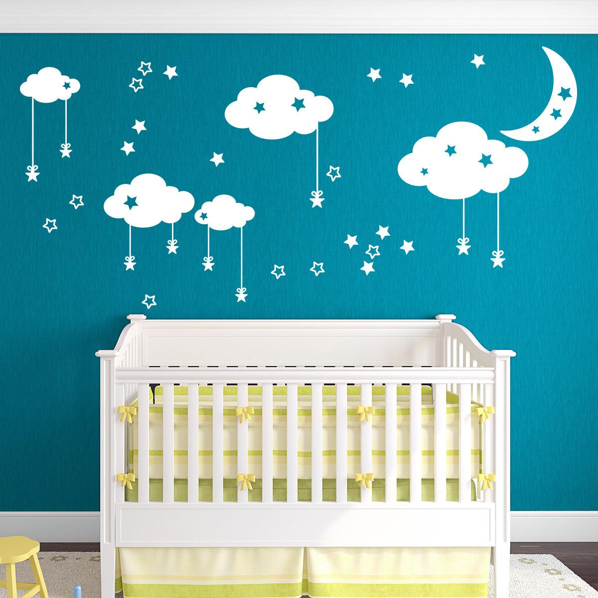 Sticker Étoiles nuages et la lune