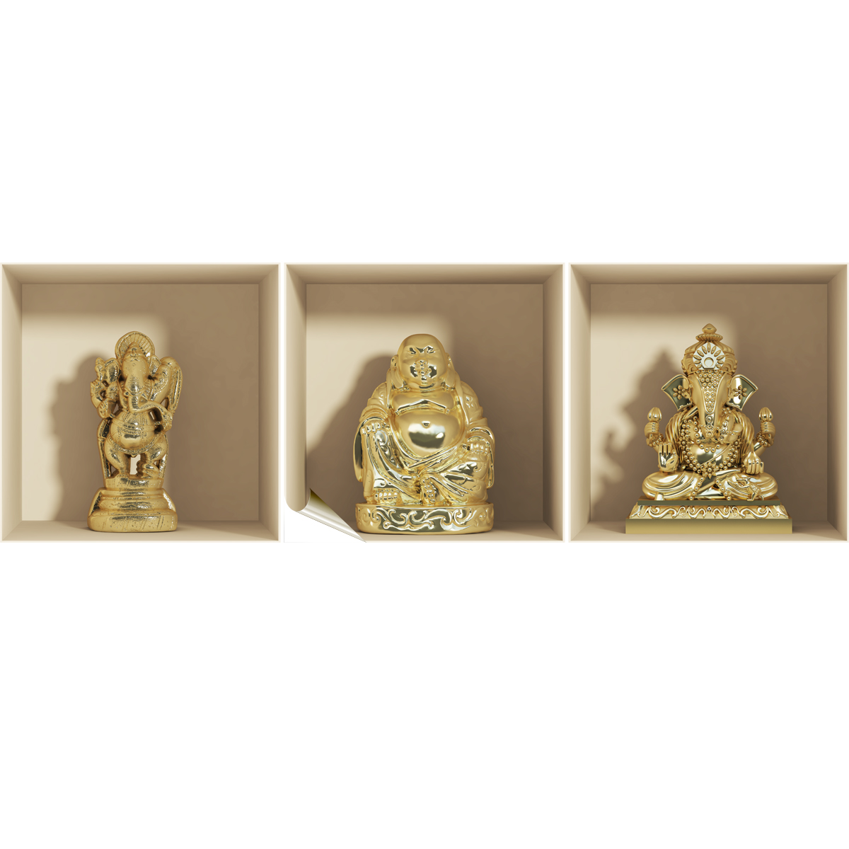 Ganesh Trompe A Droite sticker à effet 3d statues ganesh et bouddha