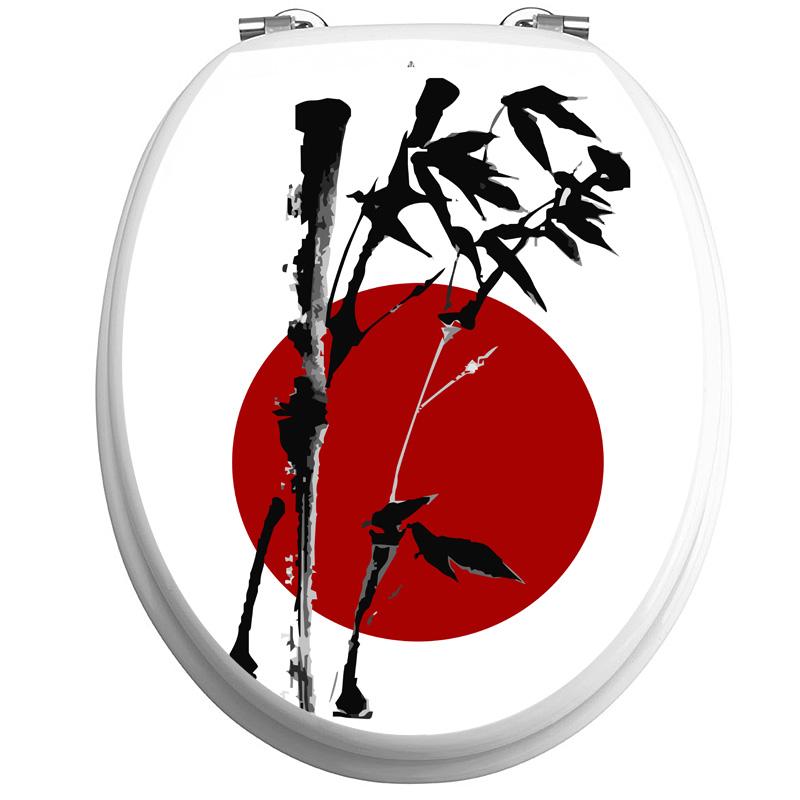 Stickers Muraux Pour WC   Sticker Abattant Toilette Drapeau Japonais Et  Bambou