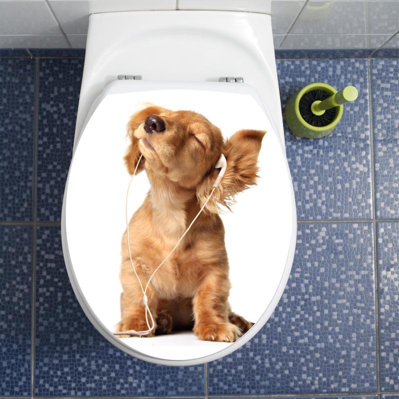sticker abattant wc avec le chiot coutant la musique stickers toilettes abattants wc. Black Bedroom Furniture Sets. Home Design Ideas