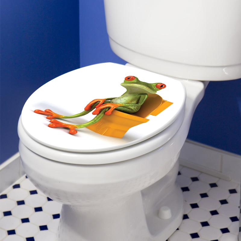 sticker abattant wc avec une grenouille marrante stickers toilettes abattants wc ambiance. Black Bedroom Furniture Sets. Home Design Ideas