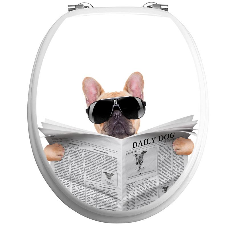 sticker abattant wc chien avec un journal et lunettes de. Black Bedroom Furniture Sets. Home Design Ideas