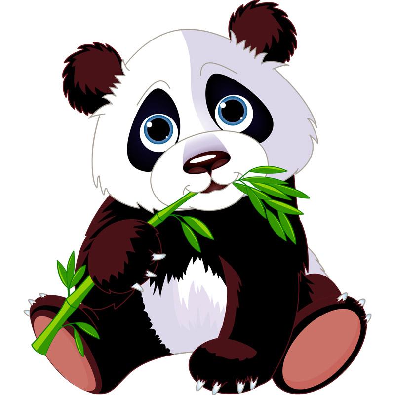 Sticker Animal Panda Et Son Bambou