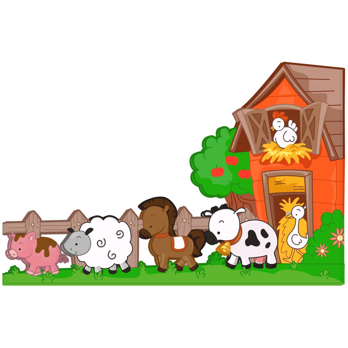 Nouveau Sticker Animaux de la ferme en balade – Stickers Nature Arbres  OG86