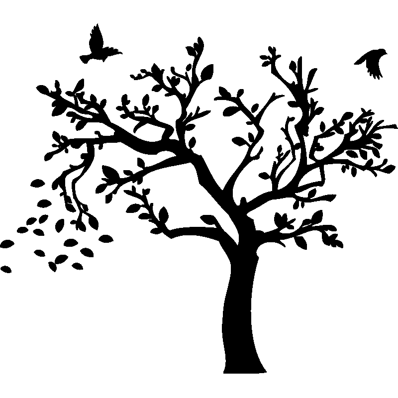 sticker arbre d 39 automne et ses oiseaux stickers nature arbres ambiance sticker. Black Bedroom Furniture Sets. Home Design Ideas