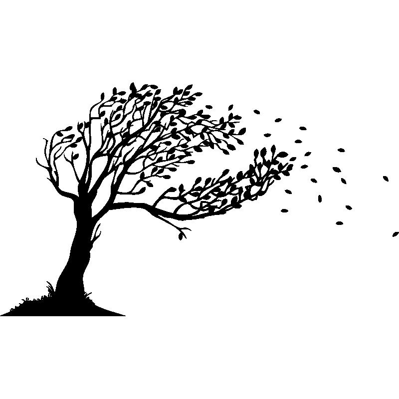 sticker arbre souffl u00e9 par le vent design  u2013 stickers nature