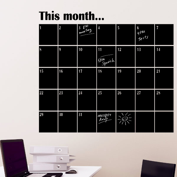 calendrier mensuel en ardoise