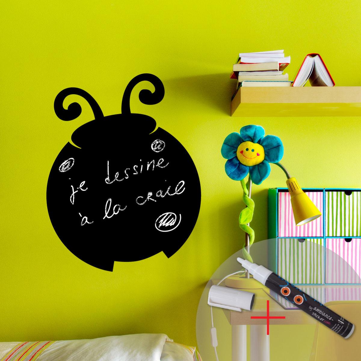 sticker ardoise coccinelle craie liquide blanche. Black Bedroom Furniture Sets. Home Design Ideas