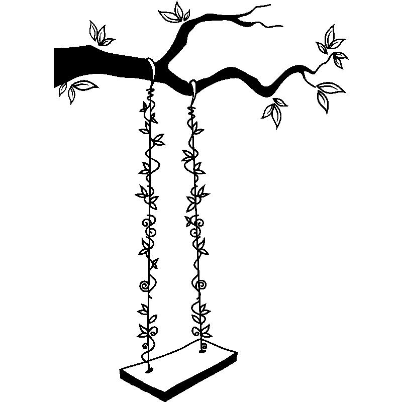 Dessin Balançoire sticker balançoire fleurie – stickers nature arbres - ambiance-sticker
