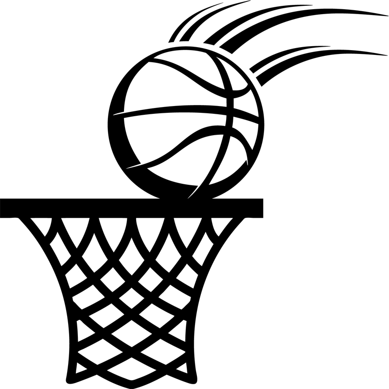 Stickers de silhouettes et personnages sticker ballon de basket et cerceau ambiance - Dessin basket ...