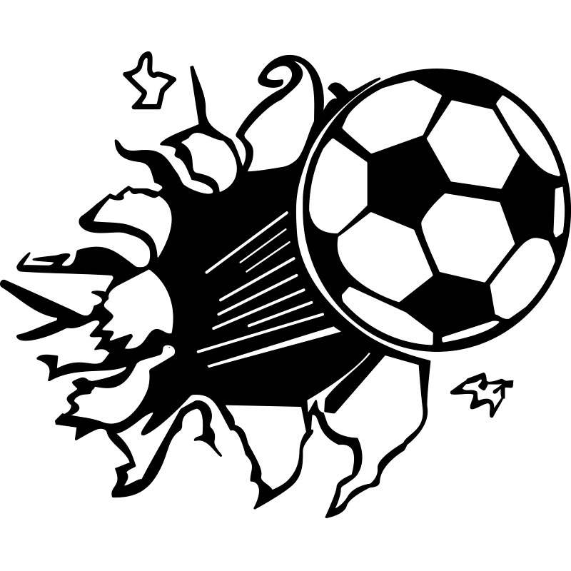 Sticker ballon de foot en l 39 air stickers sports et football football ambiance sticker - Dessin de ballon de foot ...
