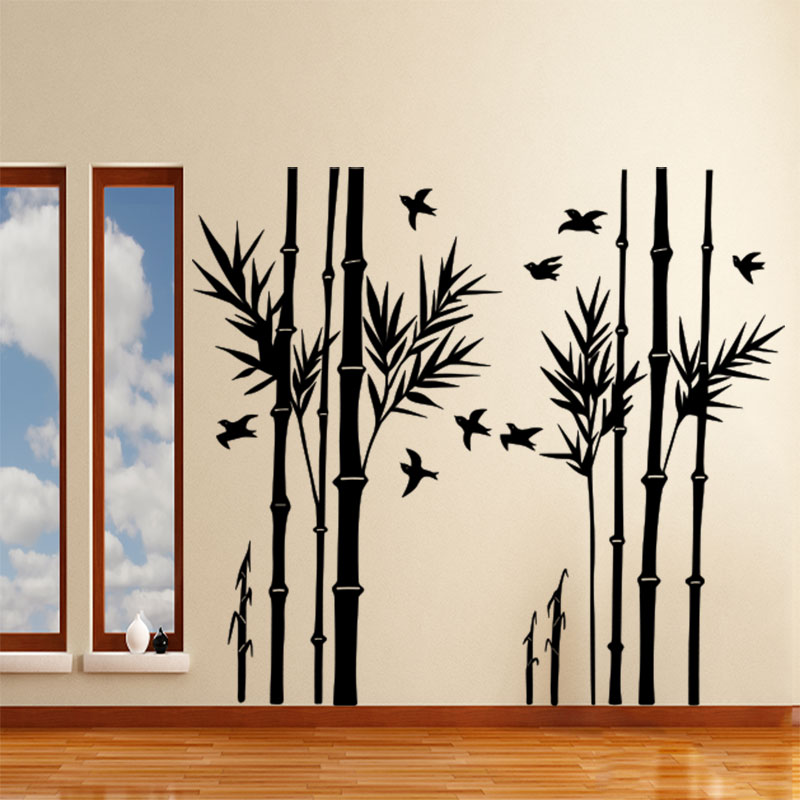 sticker bambous et ses oiseaux stickers nature feuilles ambiance sticker. Black Bedroom Furniture Sets. Home Design Ideas