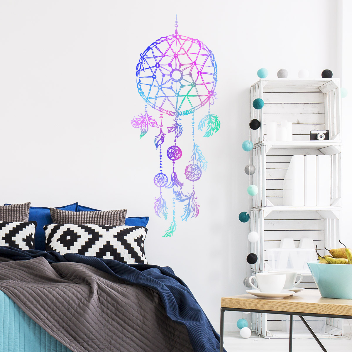 Idee Deco Chambre Garcon Super Heros wall decal boho dream catcher star