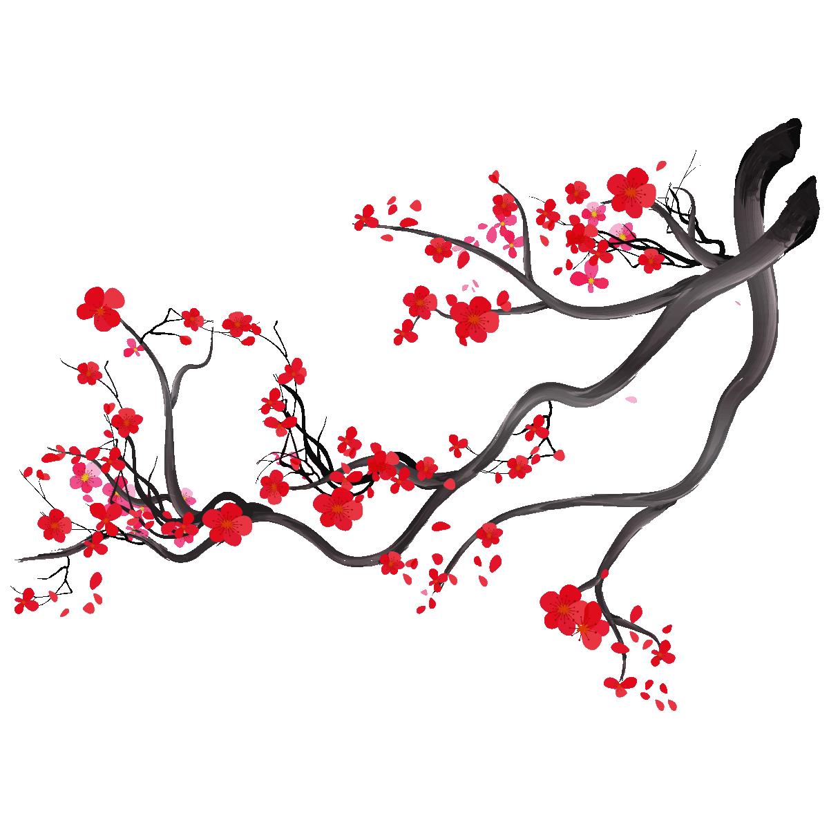 Wall Decal Watercolor Japanese Cherry Tree Branch Wall Decals Wall Decal Nature Trees Ambiance Sticker