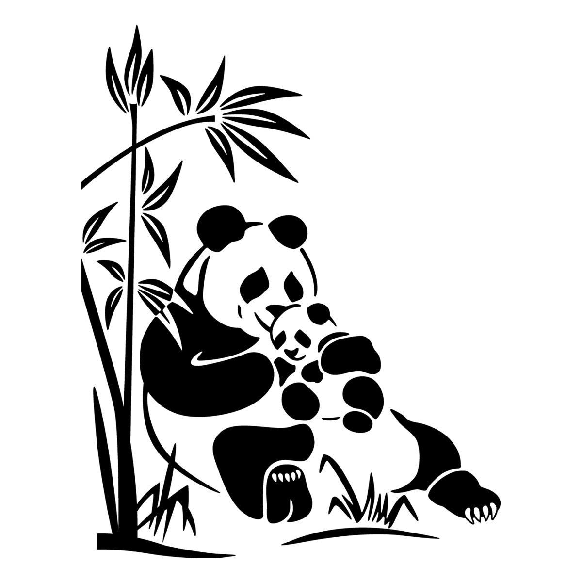 Stickers muraux animaux sticker doux ours panda ambiance - Coloriage panda des reves ...